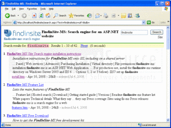 FindinSite-MS search results shown in a Web browser.