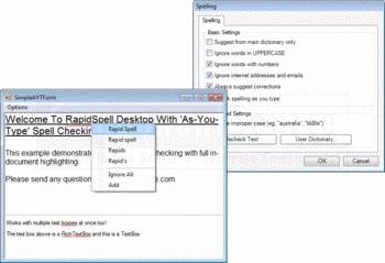 Spell checking options from RapidSpell Desktop .NET.